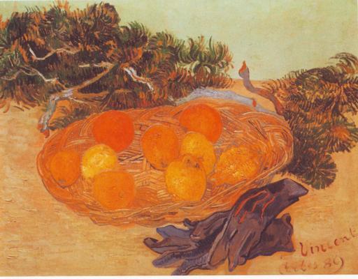 Paire de gants et fruits de Provence