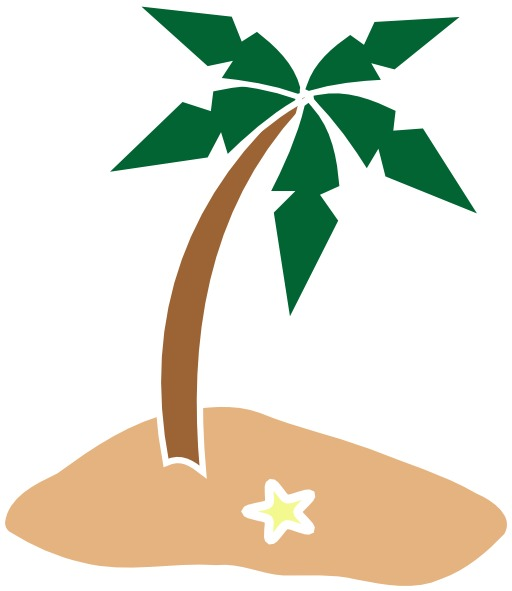 Palmier stylisé sur une île