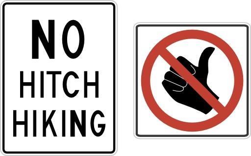 Panneau anglais d'interdiction de faire de l'auto-stop