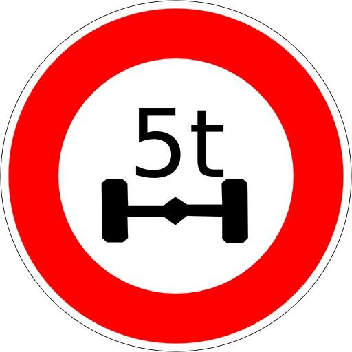 Panneau d'interdiction aux plus de 5 tonnes