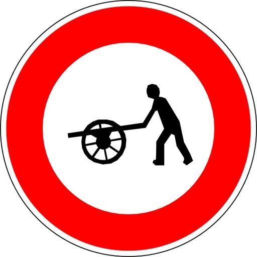 Panneau d'interdiction aux véhicules à bras