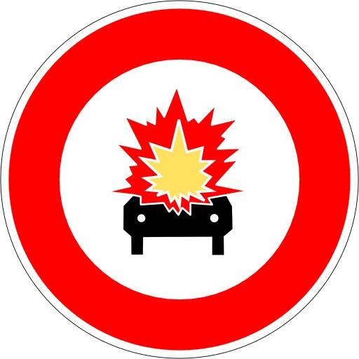 Panneau d'interdiction de matières inflammables