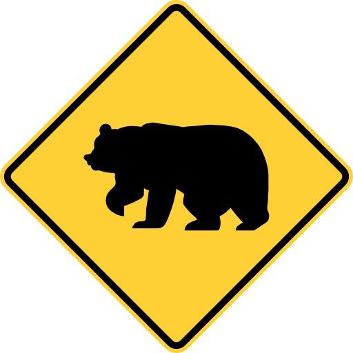 Panneau de risque de traversée d'ours