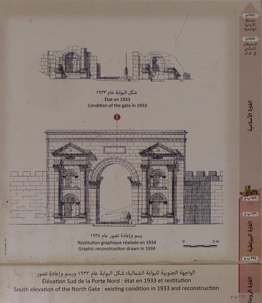 Panneau informatif sur la porte nord et l'extrémité nord du Cardo à Jerash