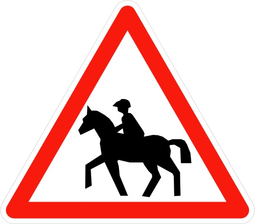 Panneau signalant le passage de cavaliers