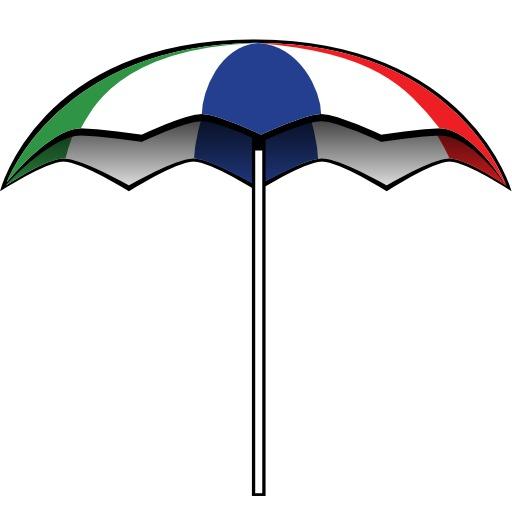 Parasol tricolore ouvert