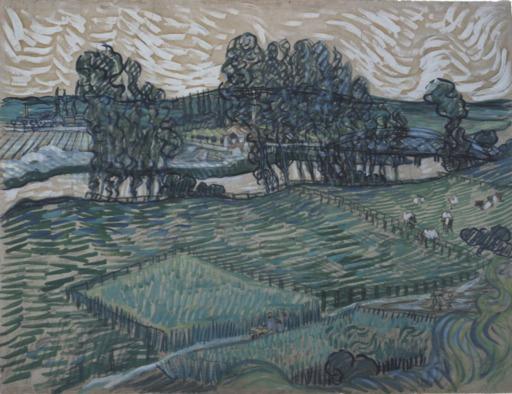 Paysage avec pont sur l'Oise en 1890