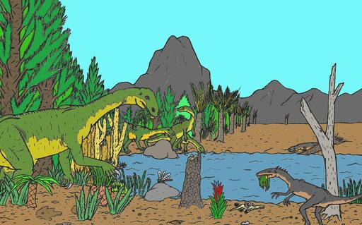 Paysage reconstituant un environnement du Triassique supérieur