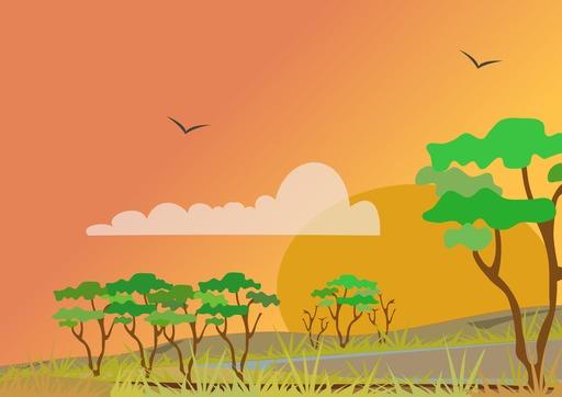 Paysage stylisé de savane - 03