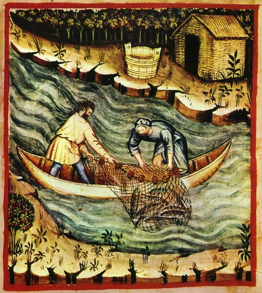 Pêche en rivière au Moyen Age