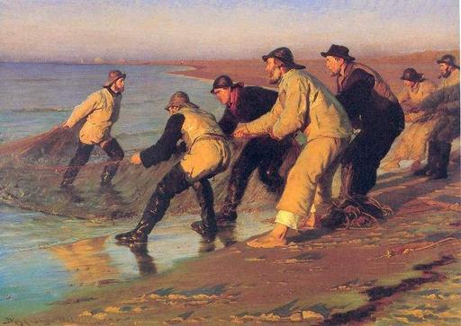 Pêcheurs danois tirant les filets sur la plage
