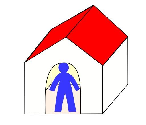 Petit homme bleu à la maison