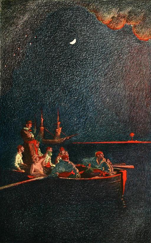Pirates mettant le feu à un galion