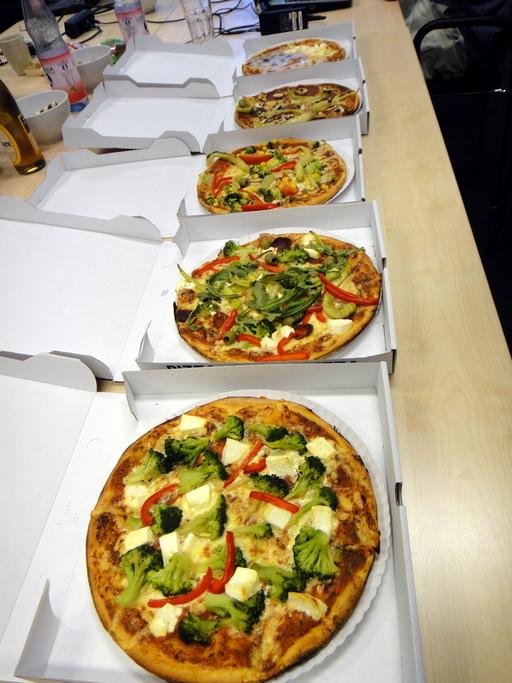 Pizzas en boite