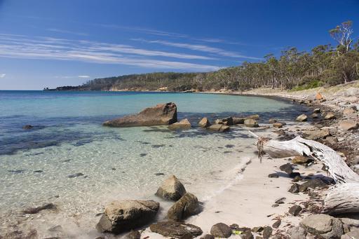 Plage de Maria Island en Tasmanie