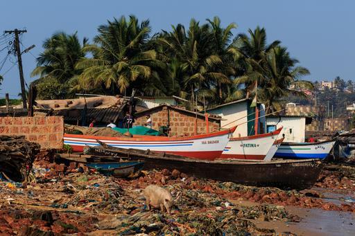 Plage des pêcheurs à Goa-Vasco en Inde