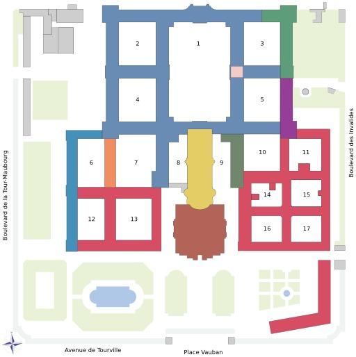 Plan de l'Hôtel des Invalides à Paris