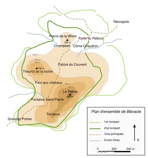 Plan de l'oppidum de Bibracte