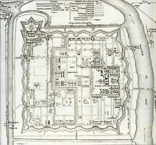 Plan de la Citadelle de Hué en 1885