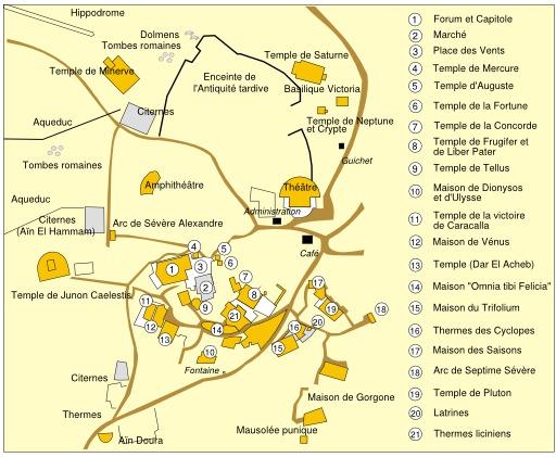 Plan de la cité antique de Dougga en Tunisie