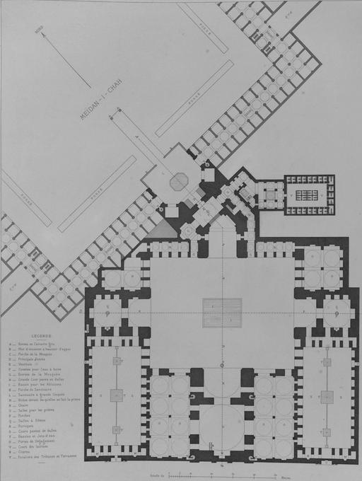 Plan de Masjid Shah en 1840