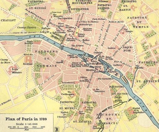 Plan de Paris en 1789