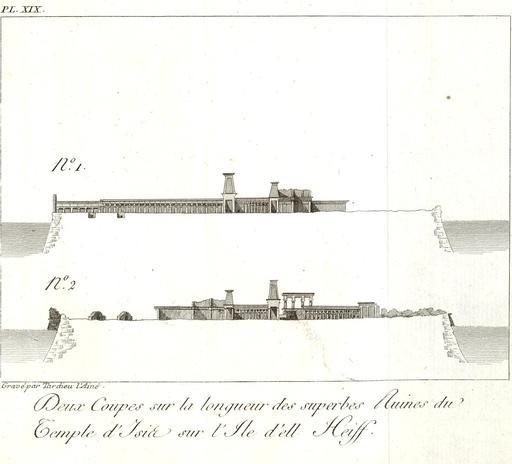 Plan des ruines du temple d'Isis en 1799