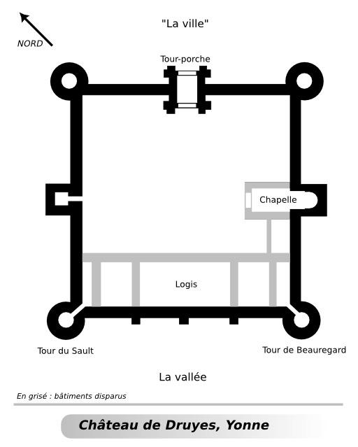 Plan du château de Druyes