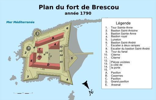 Plan du fort Brescou à Agde en 1790