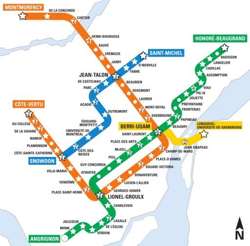Plan du métro de Montréal avec art contemporain