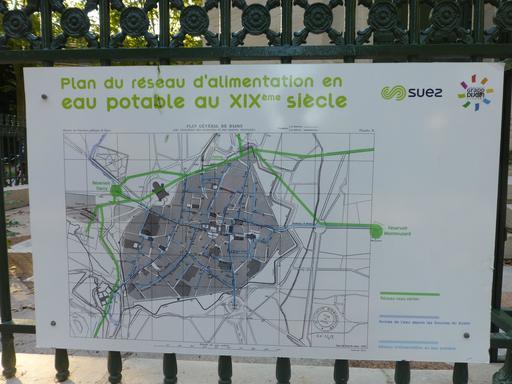 Plan du réseau d'eau potable au Jardin Darcy à Dijon