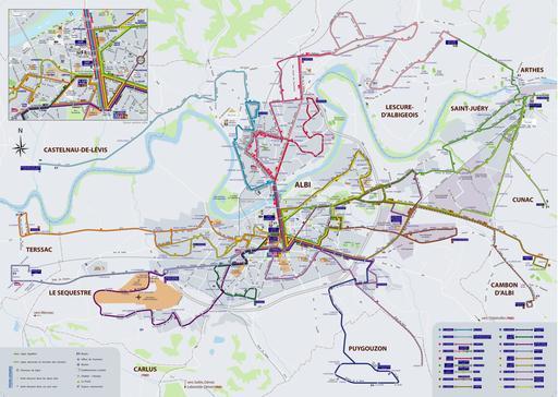 Plan du réseau de transports en commun à Albi