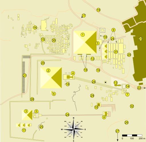 Plan du site des pyramides de Gizeh