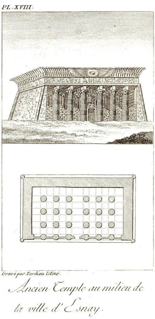 Plan du temple de Knoum à Esna en 1799