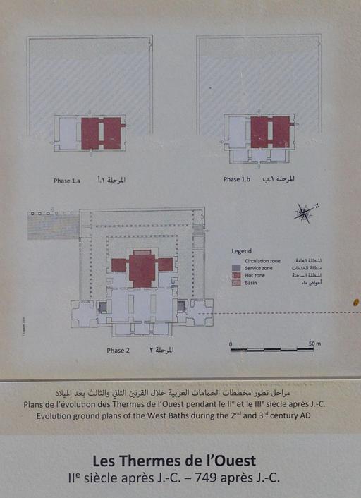 Plans de l'évolution des thermes de l'ouest à Jerash