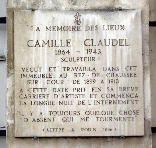 Plaque Camille Claudel à Paris