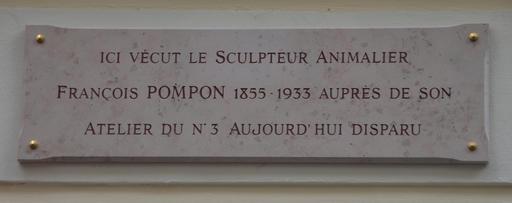 Plaque commémorative de François Pompon
