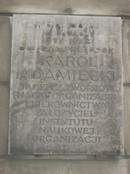 Plaque commémorative de Karol Adamiecki à Varsovie