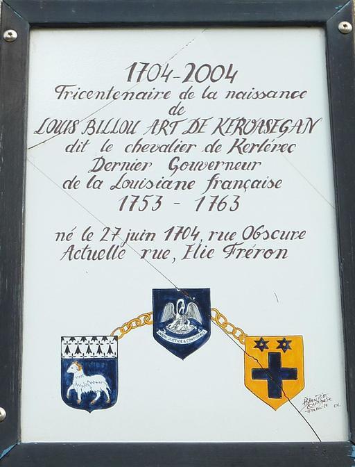 Plaque commémorative du chevalier de Kerlérec à Quimper