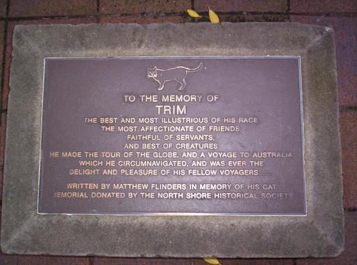 Plaque commémorative en l'honneur du chat Trim