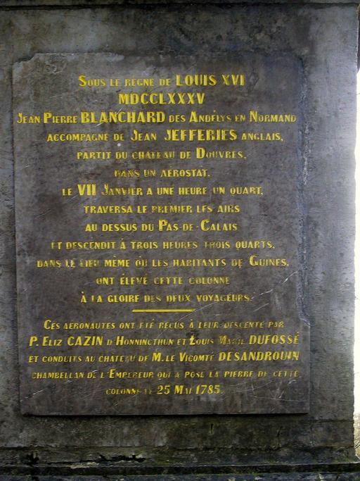 Plaque de la colonne Blanchard à Guînes