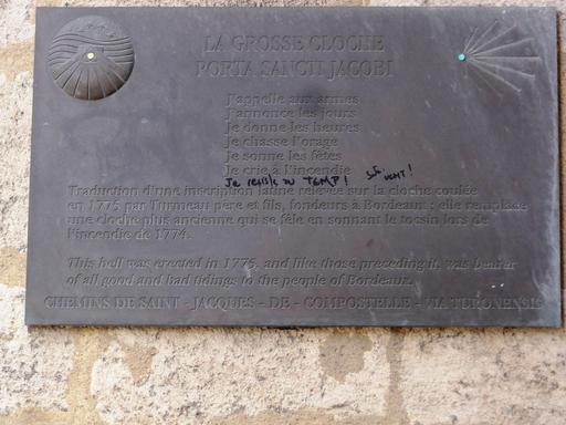 Plaque de La Grosse Cloche à Bordeaux