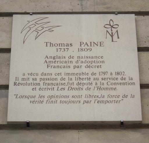 Plaque de Thomas Paine à Paris