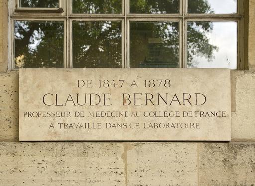 Plaque devant le laboratoire de Claude Bernard