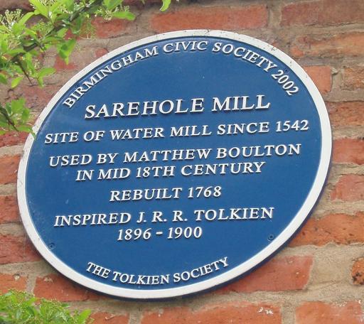 Plaque en anglais du moulin de Tolkien