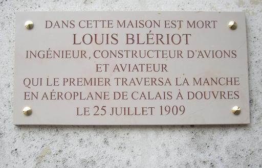 Plaque Louis Blériot à Paris