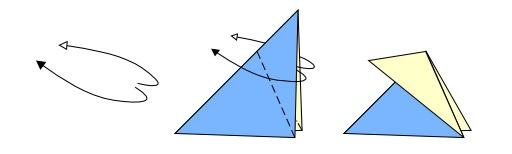 Pli renversé extérieur en origami