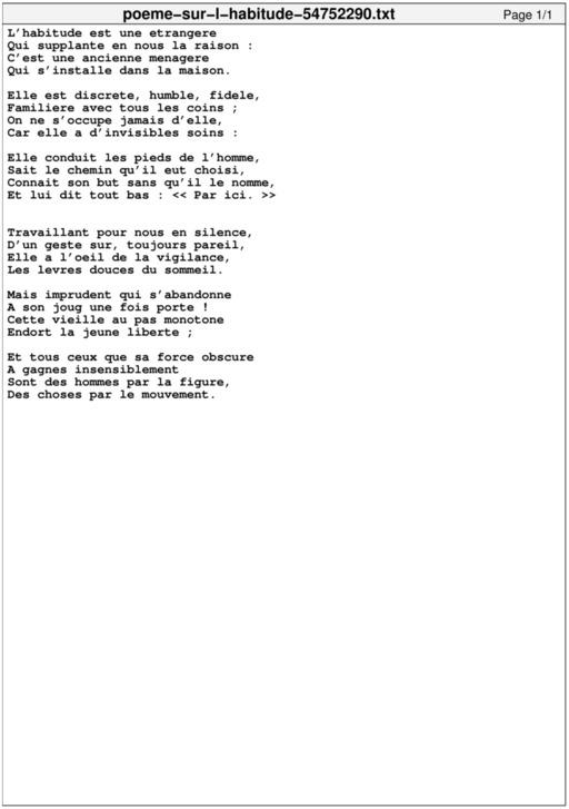 Poème sur l'habitude