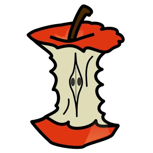 Pomme rouge mangée
