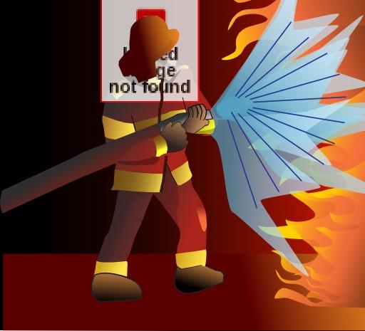 Pompier combattant le feu